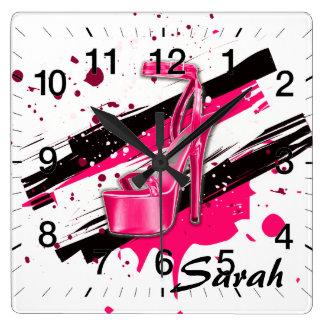 Relógio Quadrado Saltos altos quentes do preto, os cor-de-rosa & os