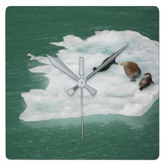 Relógio Quadrado Selos em um pulso de disparo do iceberg