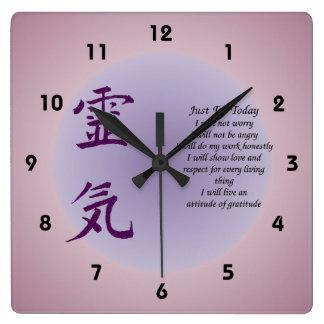 Relógio Quadrado Símbolo de Reiki apenas para hoje inspirado