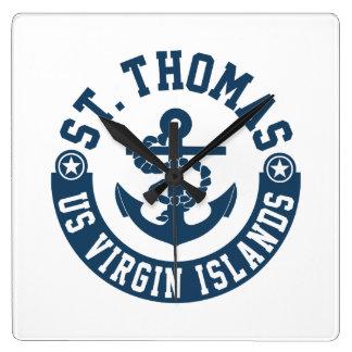 Relógio Quadrado St Thomas E.U. Virgin Islands