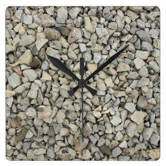Relógio Quadrado Textura do cascalho