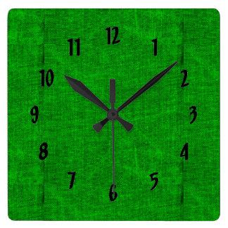 Relógio Quadrado Textura verde das canvas