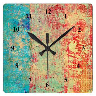 Relógio Quadrado Verde vermelho de turquesa da pintura da textura
