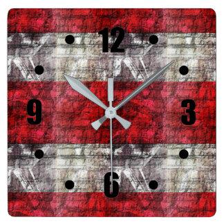 Relógio Quadrado Vermelho e listras Textured cinzas