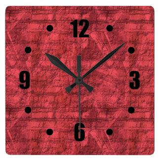 Relógio Quadrado Vermelho Textured