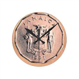Relógio Redondo 1 moeda jamaicana do centavo