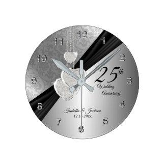 Relógio Redondo 25o Design da lembrança do aniversário de