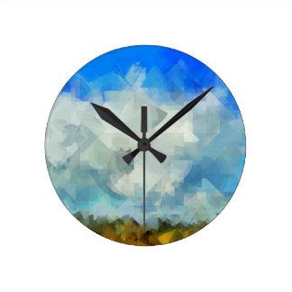 Relógio Redondo Abstrato da paisagem da nuvem