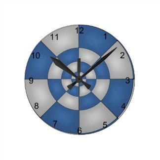Relógio Redondo Abstrato náutico do azul