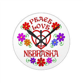 Relógio Redondo Amor Nebraska da paz