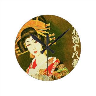 Relógio Redondo Arte de papel japonesa da gueixa & do guarda-chuva