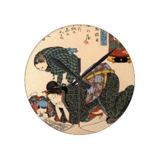 Relógio Redondo Arte japonesa da menina de gueixa do vintage
