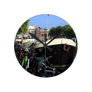 Relógio Redondo Barca e bicicletas, Amsterdão