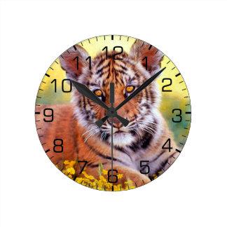 Relógio Redondo Bebê Cub do tigre