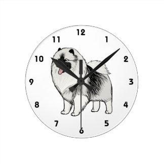 Relógio Redondo Cão dos desenhos animados do Keeshond