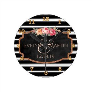 Relógio Redondo Casamento personalizado elegante do ouro do rosa
