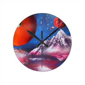 Relógio Redondo Cena dos planetas do espaço da arte da pintura