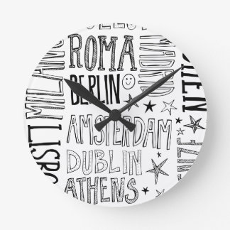 Relógio Redondo Cidades de presentes modernos chiques da cidade da