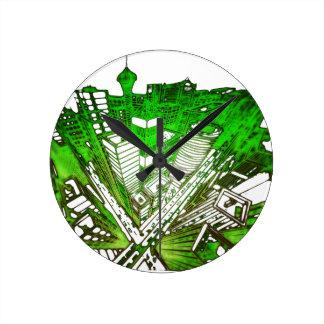 Relógio Redondo city em 3 point version perspective special green