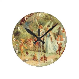 Relógio Redondo Contos de fadas do vintage, Thumbelina e príncipe