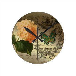 Relógio Redondo coroa botânica Paris da borboleta do Hydrangea da
