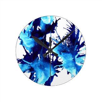 Relógio Redondo Design azul bonito da arte abstracta das tintas do