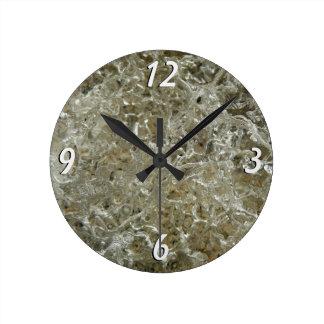 Relógio Redondo Design Textured do abstrato do gelo natureza