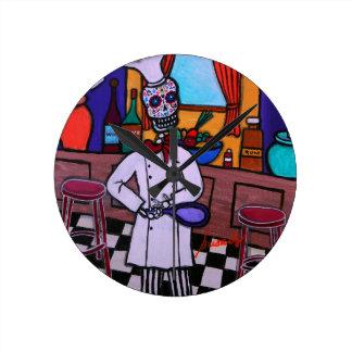Relógio Redondo Diâmetro de los Muertos Cozinheiro chefe