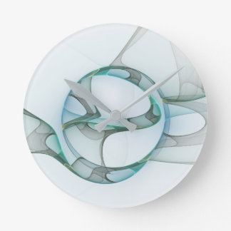 Relógio Redondo Elegância minimalista do Fractal, arte abstracta