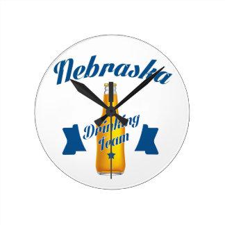 Relógio Redondo Equipe do bebendo de Nebraska