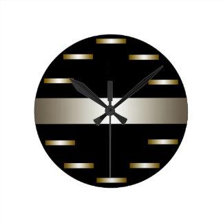 Relógio Redondo Estilo urbano do minimalismo de prata lustroso do