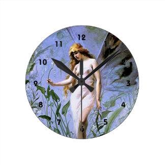 Relógio Redondo Fada do lírio do vintage