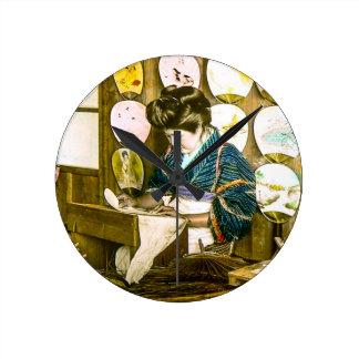 Relógio Redondo Fãs de papel do fazer no vintage velho Uchiwa de