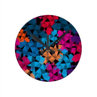 Relógio Redondo Formas 3D geométricas coloridas