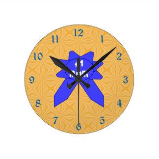 Relógio Redondo Fundo Textured variável da mamã da fita azul #1