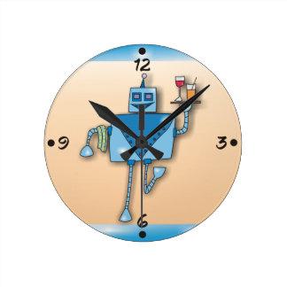 Relógio Redondo Garçom do robô com os pulsos de disparo de parede