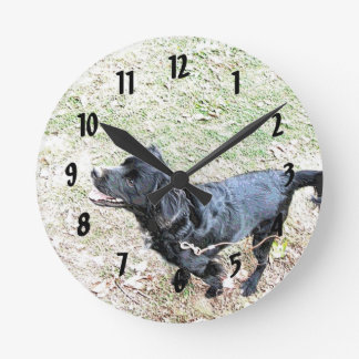 Relógio Redondo Hora de andar o pulso de disparo de parede do cão