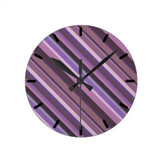 Relógio Redondo Listras diagonais malva