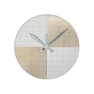 Relógio Redondo Malha mínima Geom conceptual do ouro de prata de