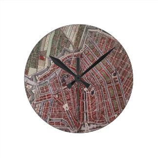 Relógio Redondo Mapa da cidade da réplica de Amsterdão 1652