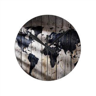 Relógio Redondo Mapa do mundo na textura de madeira