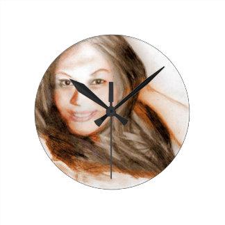 Relógio Redondo Menina asiática da mulher da senhora da beleza