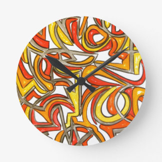 Relógio Redondo Na Bush-Mão arte abstracta pintada