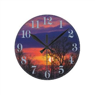Relógio Redondo Nascer do sol do alvorecer & arte 2 da natureza