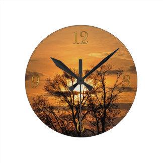 Relógio Redondo Nascer do sol do alvorecer & arte 3 da natureza