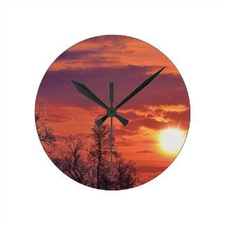 Relógio Redondo Nascer do sol do alvorecer & arte da natureza dos