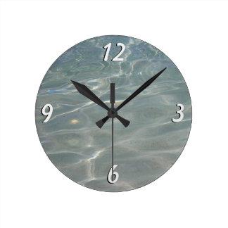 Relógio Redondo Natureza das caraíbas do azul do abstrato da água
