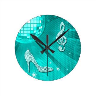 Relógio Redondo Nota da música da cerceta & salto de estilete