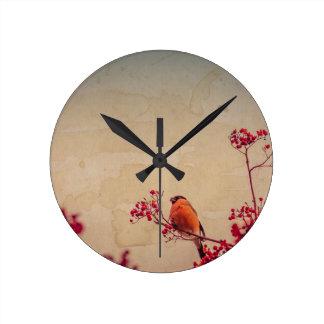 Relógio Redondo O Bullfinch em Rowan Textured