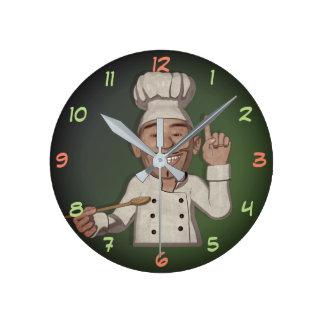 Relógio Redondo O estilo dos desenhos animados do cozinheiro chefe